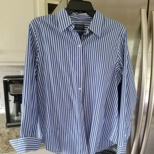 Chaps Navy and White Striped Blouse Large